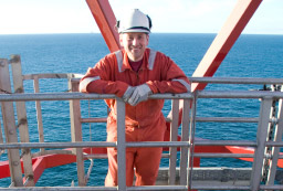 Oil Rig Worker Poses for Photo