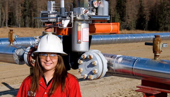 Petroleum Engineer Visits Oil Pipeline Site
